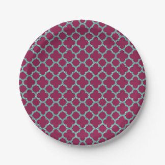 Quatrefoil turquose glitter and purple pattern paper plate