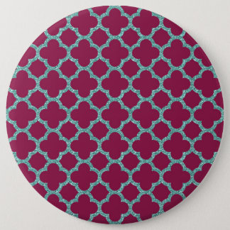 Quatrefoil turquose glitter and purple pattern pinback button