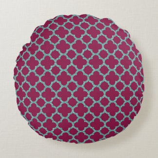 Quatrefoil turquose glitter and purple pattern round pillow