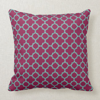Quatrefoil turquose glitter and purple pattern throw pillow