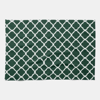 Quatrefoil verde oscuro toallas