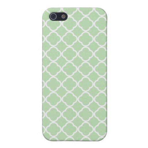 Quatrefoil verde suave iPhone 5 carcasas