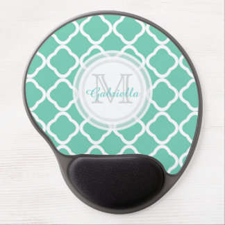 Quatrefoil Water Leaf Monogram Mouse Pad