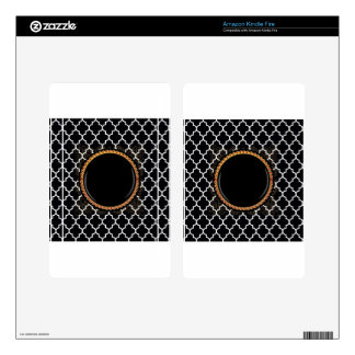 Quatrefoil White-on-Black Multiple Products select Decals For Kindle Fire
