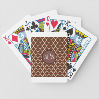 Quatrefoil White on-Brown,Multiple products select Bicycle Playing Cards