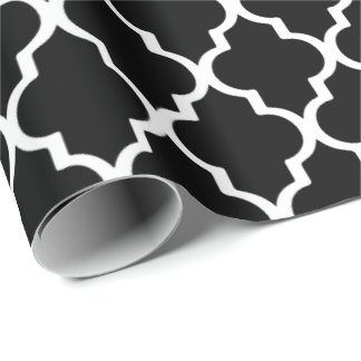 Quatrefoil Wrapping Paper - Black and White