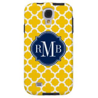 Quatrefoil Yellow and White Pattern Monogram Galaxy S4 Case