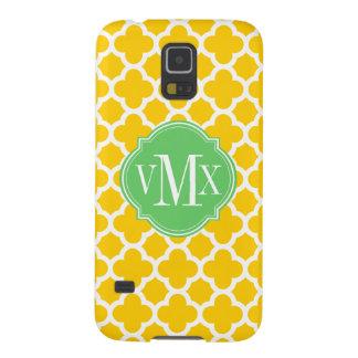 Quatrefoil Yellow and White Pattern Monogram Galaxy S5 Case