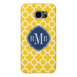 Quatrefoil Yellow and White Pattern Monogram Samsung Galaxy S6 Case