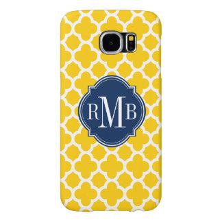 Quatrefoil Yellow and White Pattern Monogram Samsung Galaxy S6 Case