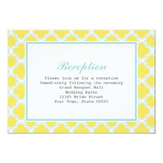 Quatrefoil Yellow & Turquoise Reception Info Card