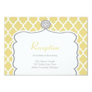 Quatrefoil Yellow Wedding Reception Card
