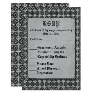 Quatrefoils Black on Silver Card