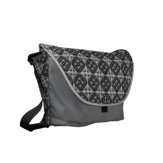 Quatrefoils Black on Silver Courier Bag