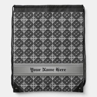 Quatrefoils Black on Silver Drawstring Backpack