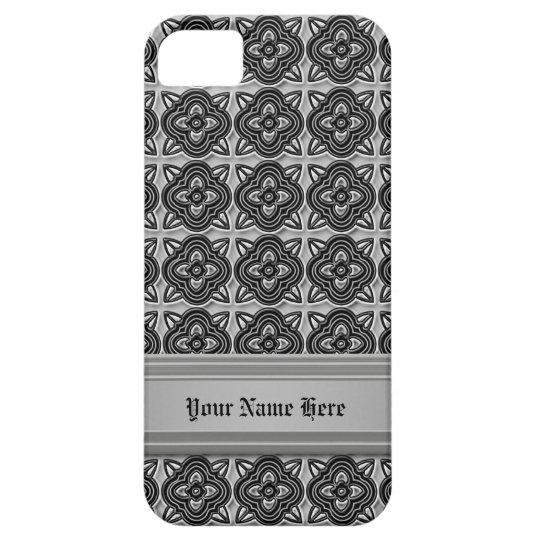Quatrefoils Black on Silver iPhone SE/5/5s Case