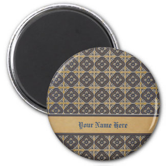 Quatrefoils Blue on Gold 2 Inch Round Magnet
