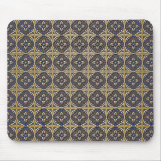 Quatrefoils Blue on Gold Mouse Pad