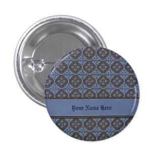 Quatrefoils Gold on Blue Button
