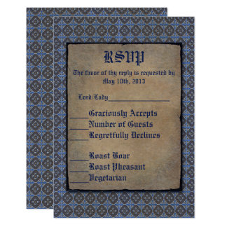 Quatrefoils Gold on Blue Card