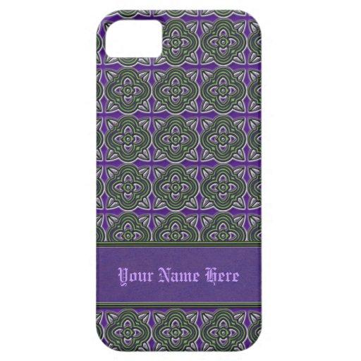Quatrefoils Green on Purple iPhone 5 Cases