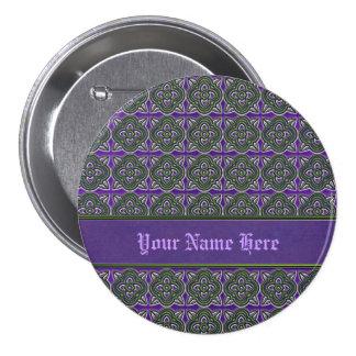 Quatrefoils Green on Purple Pinback Button