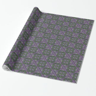 Quatrefoils Green on Purple Wrapping Paper