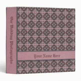 Quatrefoils Jade on Rose 3 Ring Binder