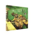 Quay con los hombres que descargan la arena Barges Lona Estirada Galerías