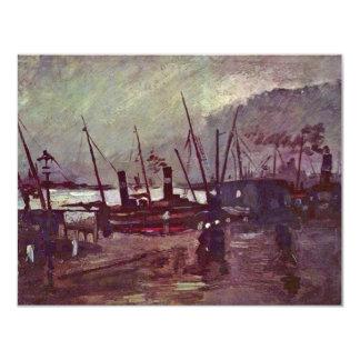 """Quay en Amberes en nave de Vincent van Gogh Invitación 4.25"""" X 5.5"""""""