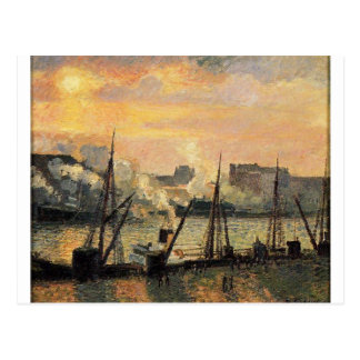 Quay in Rouen Sunset by Camille Pissarro Postcard