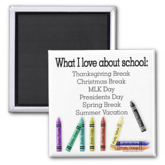¡Qué amo sobre escuela! Imán Cuadrado