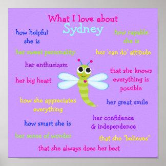Qué amo sobre Sydney personalizó el poster