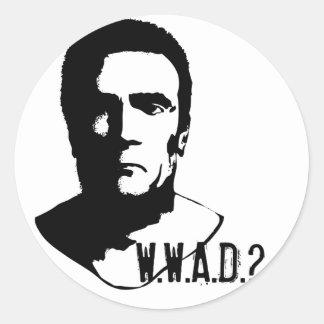 ¿Qué Arnold haría? Pegatina Redonda