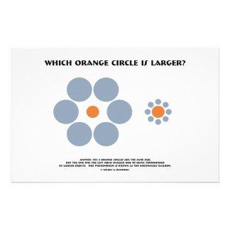 ¿Qué círculo anaranjado es más grande? (Ilusión óp Papeleria