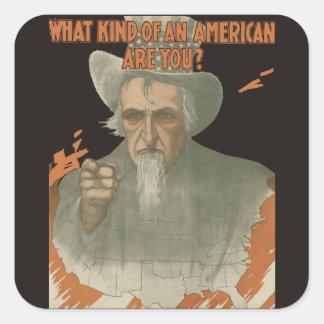 ¿Qué clase de un americano es usted? Pegatina Cuadrada