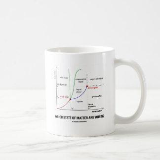 ¿Qué declaraciones está usted adentro? (Química) Taza Básica Blanca