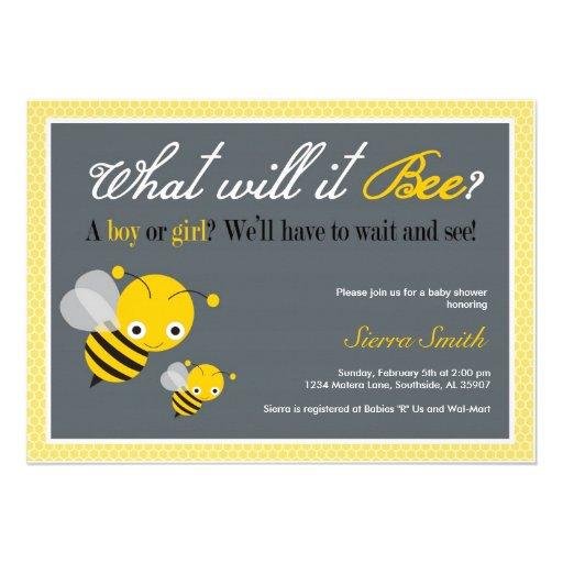 ¿Qué él abeja? Invitación de la fiesta de bienveni