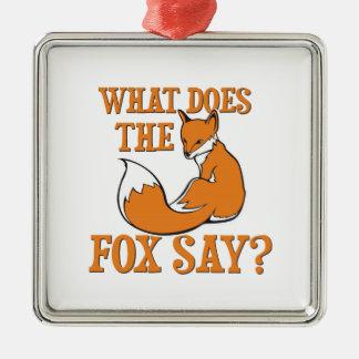 ¿Qué el Fox dice? Adorno Navideño Cuadrado De Metal
