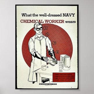Qué el trabajador químico bien vestido de la marin posters