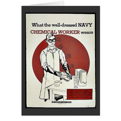 Qué el trabajador químico bien vestido de la marin tarjetón