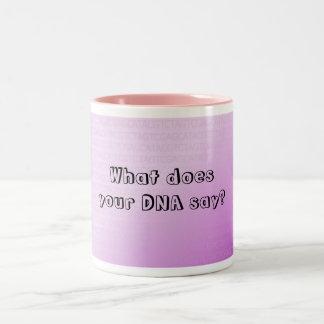 Qué hace su DNA para decir la taza de café púrpura