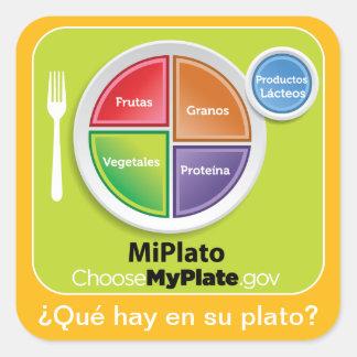 ¿Qué hay en su plato? - MyPlate Spanish Sticker
