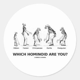 ¿Qué Hominoid son usted? (Esqueletos Hominid) Pegatina Redonda