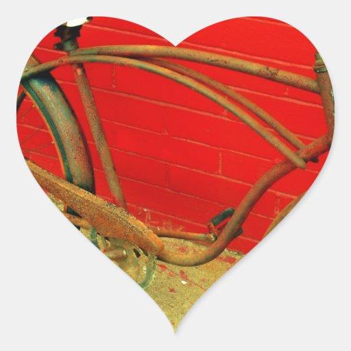 ¡Que la bici es una obra de arte bien amada! Pegatina En Forma De Corazón