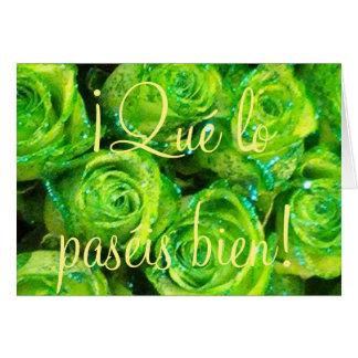¡Qué lo paséis bien! Spanish Easter Green Roses Card