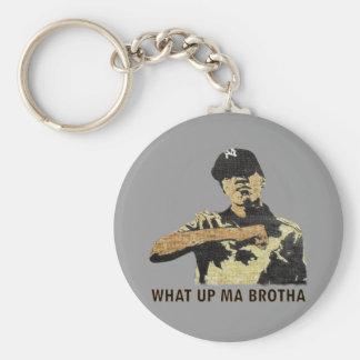 Qué mA ascendente Brotha - arte Hip Hop de la pint Llavero Redondo Tipo Pin