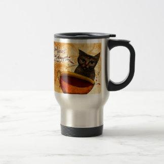 Qué mi #Coffee dice a mí - mire lo que el gato Taza De Viaje De Acero Inoxidable