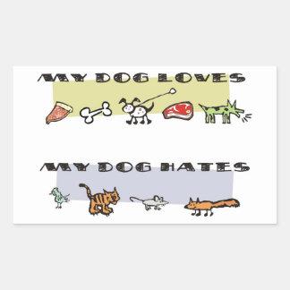 Qué mi perro ama y los odios, el perrito tiene pegatina rectangular