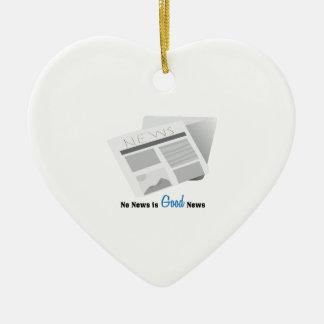 Que no haya noticias es buena noticia adorno navideño de cerámica en forma de corazón